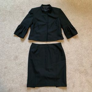 Anne Klein Black Cropped Blazer and Skirt Suit Set